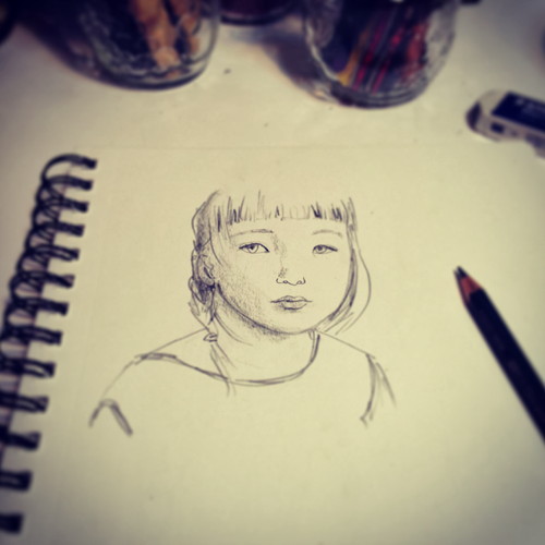 girl portrait pencil sketch by Diana Toledano