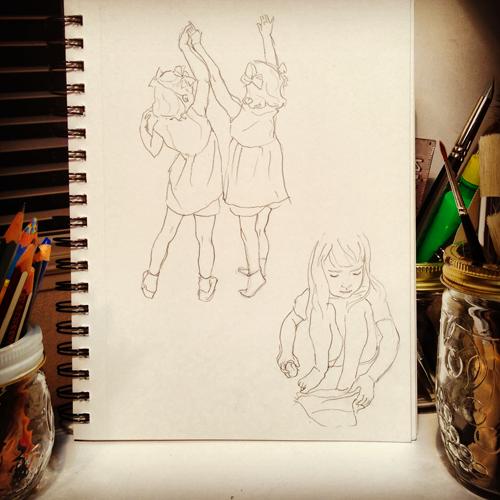 kids portrait pencil sketches by Diana Toledano