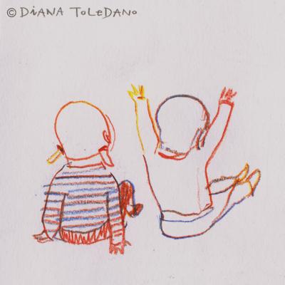 Sketches of children by Diana Toledano