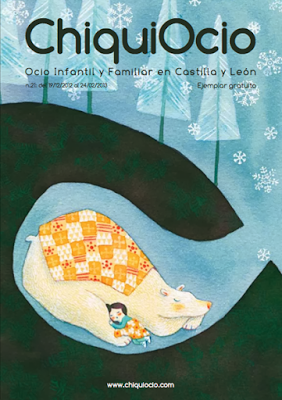 Girl and bear hibernating together, cover for a family magazine by Diana Toledano