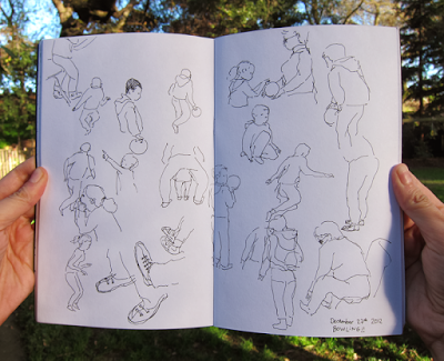 sketching while bowling by Diana Toledano