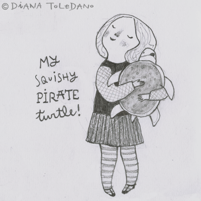Sketch of a kid with a pirate turtle by Diana Toledano