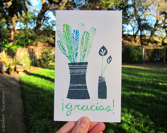 Thank you card with a plant illustration by Diana Toledano
