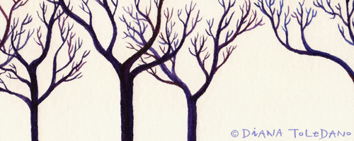 Detail of an illustration: winter trees