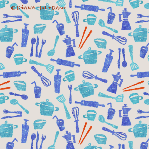 Handmade Kitchen Pattern in Blue by Diana Toledano