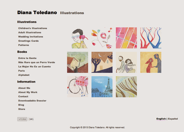 Screenshot of my updated website, by Diana Toledano
