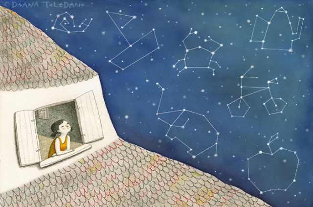 girl on a window finding new constellations. illustration by diana toledano