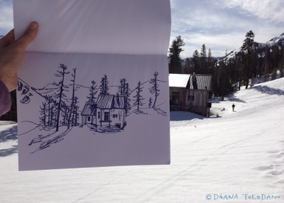 Cabin in Lake Tahoe, Sketch with markers by Diana Toledano