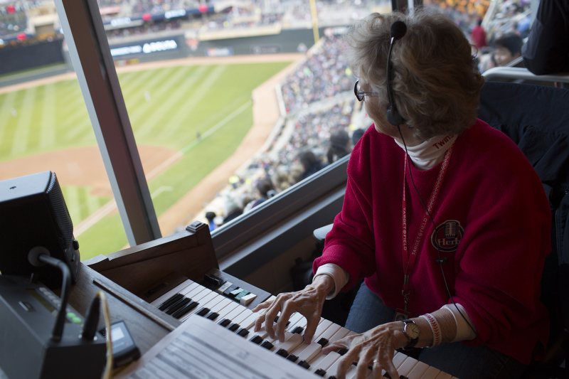 Sue Nelson plays organ at Target Field. She plays in a box where fans are able to visit with her during the game.