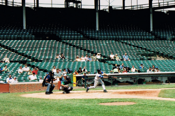 Me hitting at Wrigley Field in August 2005. Photo by my dad, Jay Whitehouse.