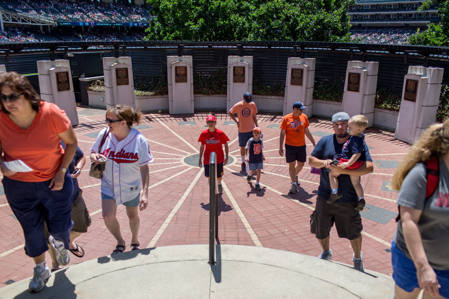 Heritage Park in center field contains plaques commemorating Indians greats.