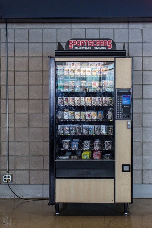 A baseball card vending machine from what looks like the 1970s.