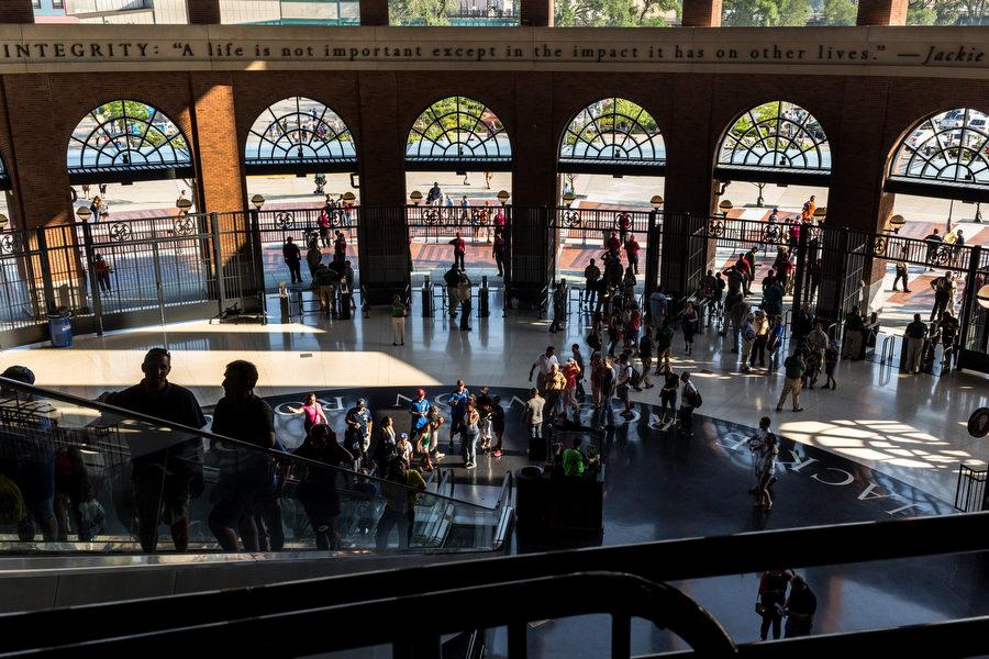 Fans enter the stadium through the Jackie Robinson rotunda.