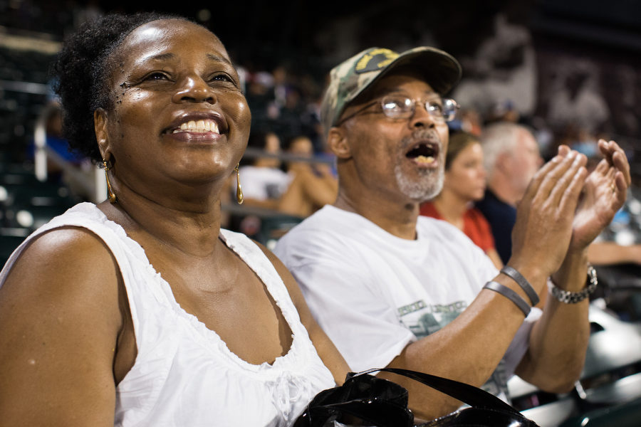 Anita Bess and her husband  Freddie are lifelong Mets fans from Brooklyn. It was Military Monday, a Mets initiative to honor servicemen and women on home Mondays. Freddie, a former Marine who served in 1968, and all his fellow service members were acknowledged during the game.