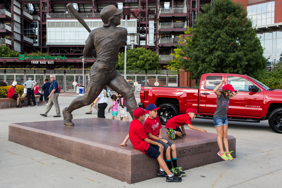 A ten-foot tall statue of Phillies great Mike Schmidt stands in front of the third base gate.