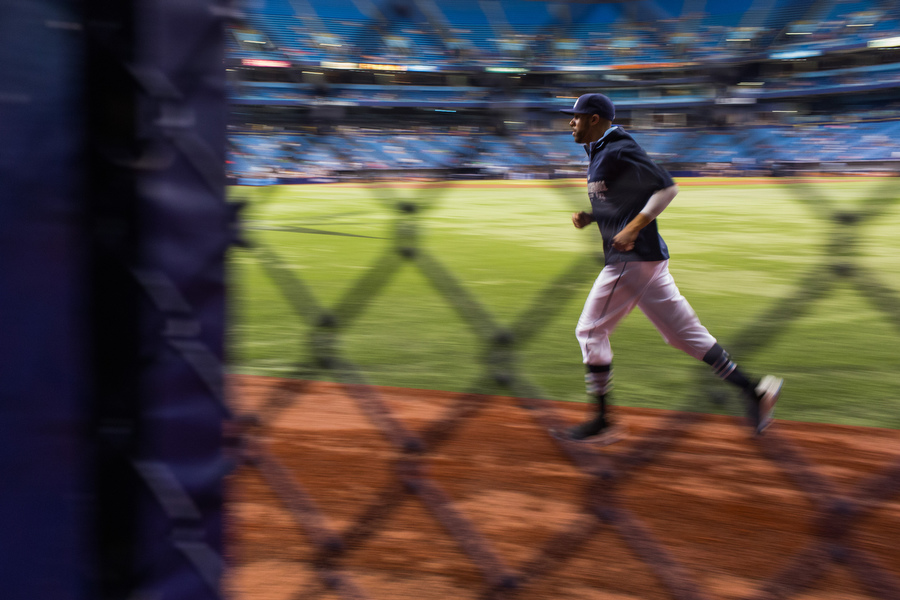 David Price warms up before the game.