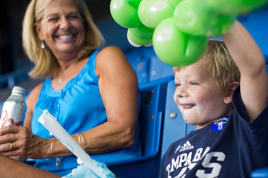Jane and her 4-year-old grandson  Evan take in the pre-game festivities. Evan was named after Rays third baseman Evan Longoria.