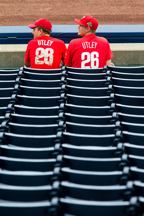 Phillies fans sit before the game.