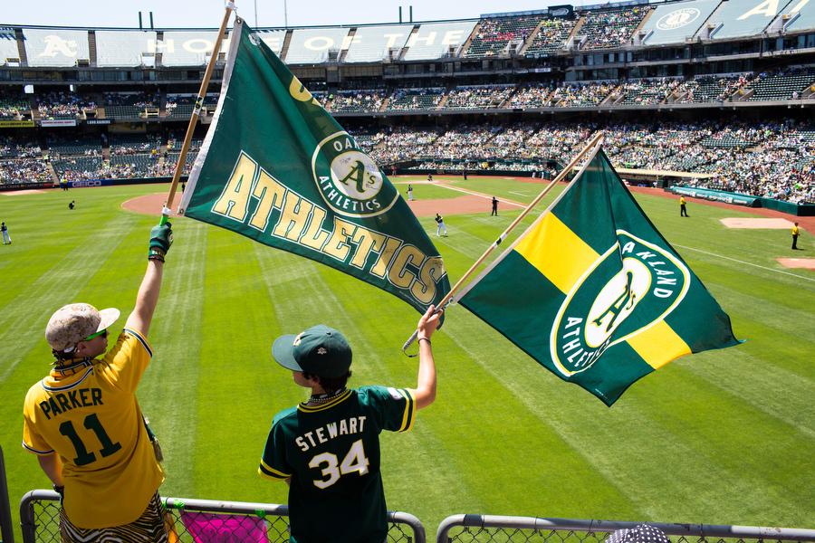 Fans wave flags in the left field bleachers.