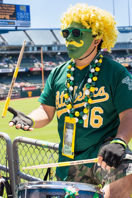 Season ticket holder Coco Fingers plays drums at A's games. He derives his game name from the combination of Rollie Fingers' mustache and Coco Crisp's hair.