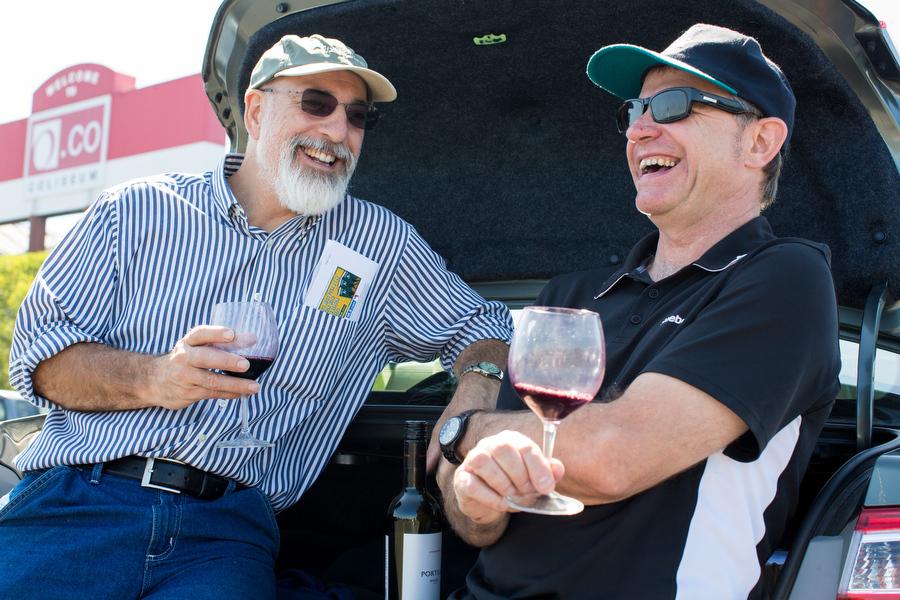 Paul Vossen ofSanta Rosa andRichard Gawel ofAdelaide, Australia drink wine before the game. It was Gawel's first game.