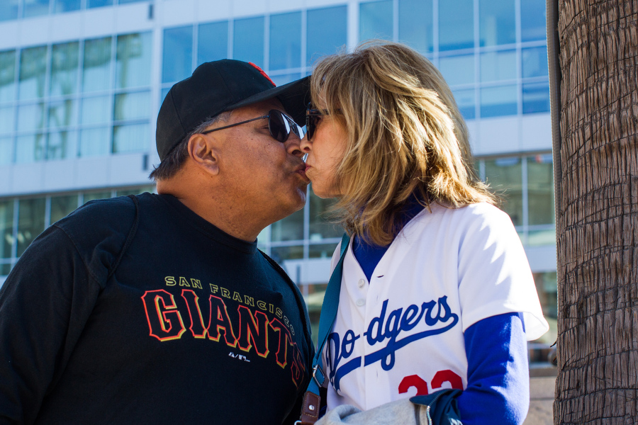 Abel andGloria have been married for 17 years. On one of their first dates, they went to a Dodgers-Giants game.