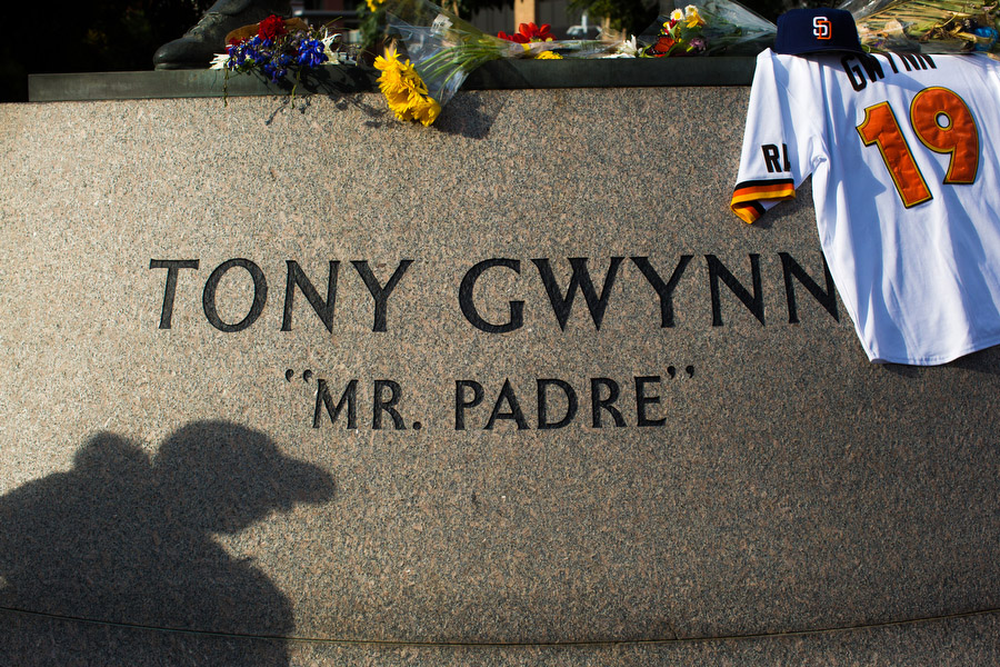 After Tony Gwynn's death on June 16, the statue of Gwynn in the Park at the Park has become an unofficial memorial where fans bring flowers and memorabilia in his honor.