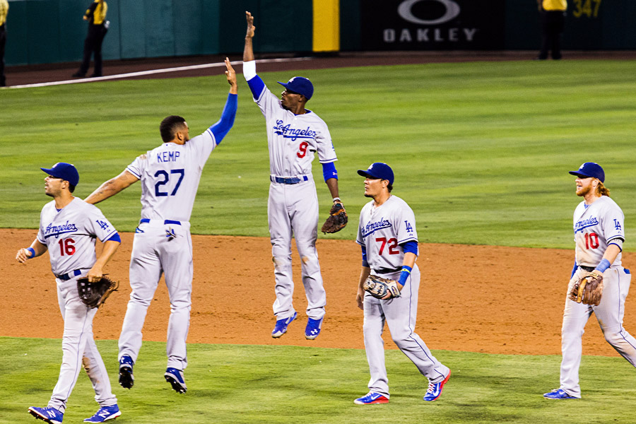 The Dodgers celebrate their victory over the Angels.