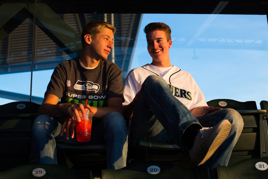 Nick, left, and Zak hang out in the upper deck.