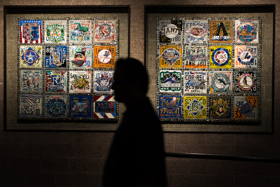 The stadium features a wall that contains team logos crafted with license plate fragments.