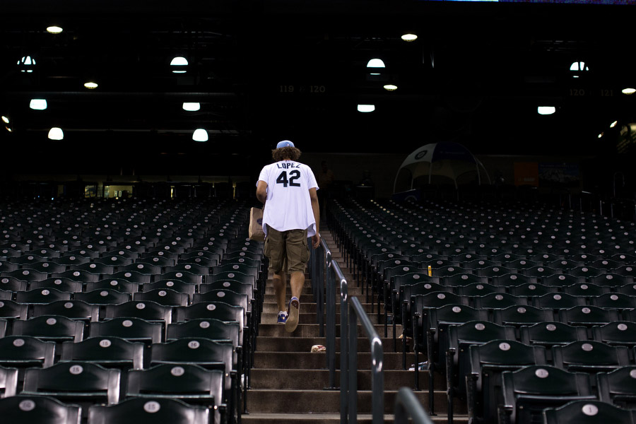 Portland Trail Blazers center Robin Lopez leaves the stadium.