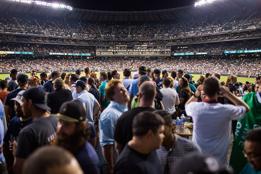 The Bullpen Market offers fans an open area to mingle just beyond the center field wall.