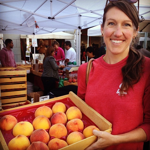 Shopping for peaches at Bella Viva