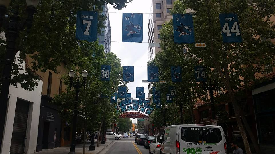 A familiar sight on San Pedro Street every playoff season in San Jose
