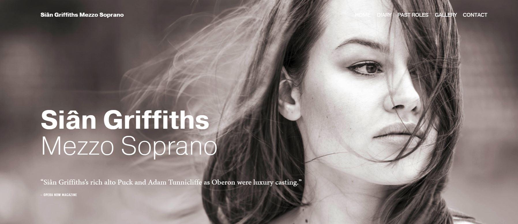 Website for mezzo soprano Sian Griffiths