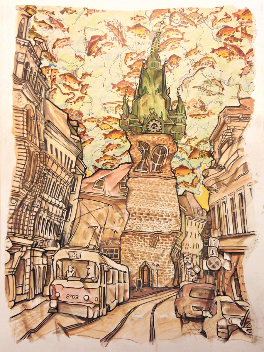 Mixed media illustration by Ken Nash