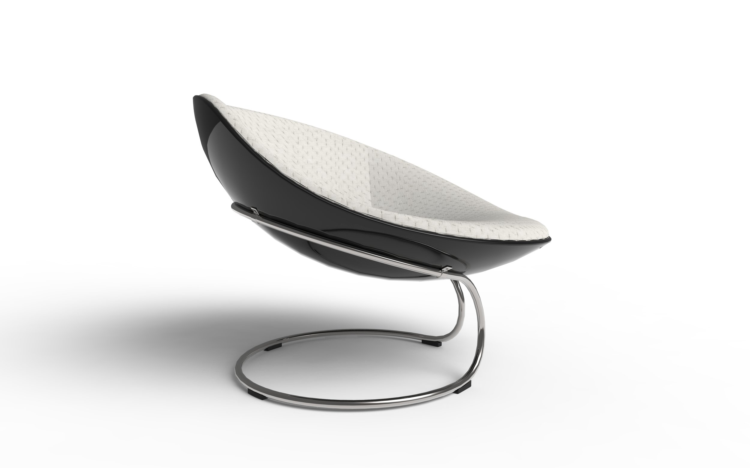 Owan has an asymmetric curvy shape on its side. It's designed with one arm-rest being lower than the other side. This asymmetry supports the user's flexibility of body postures and movements. -
