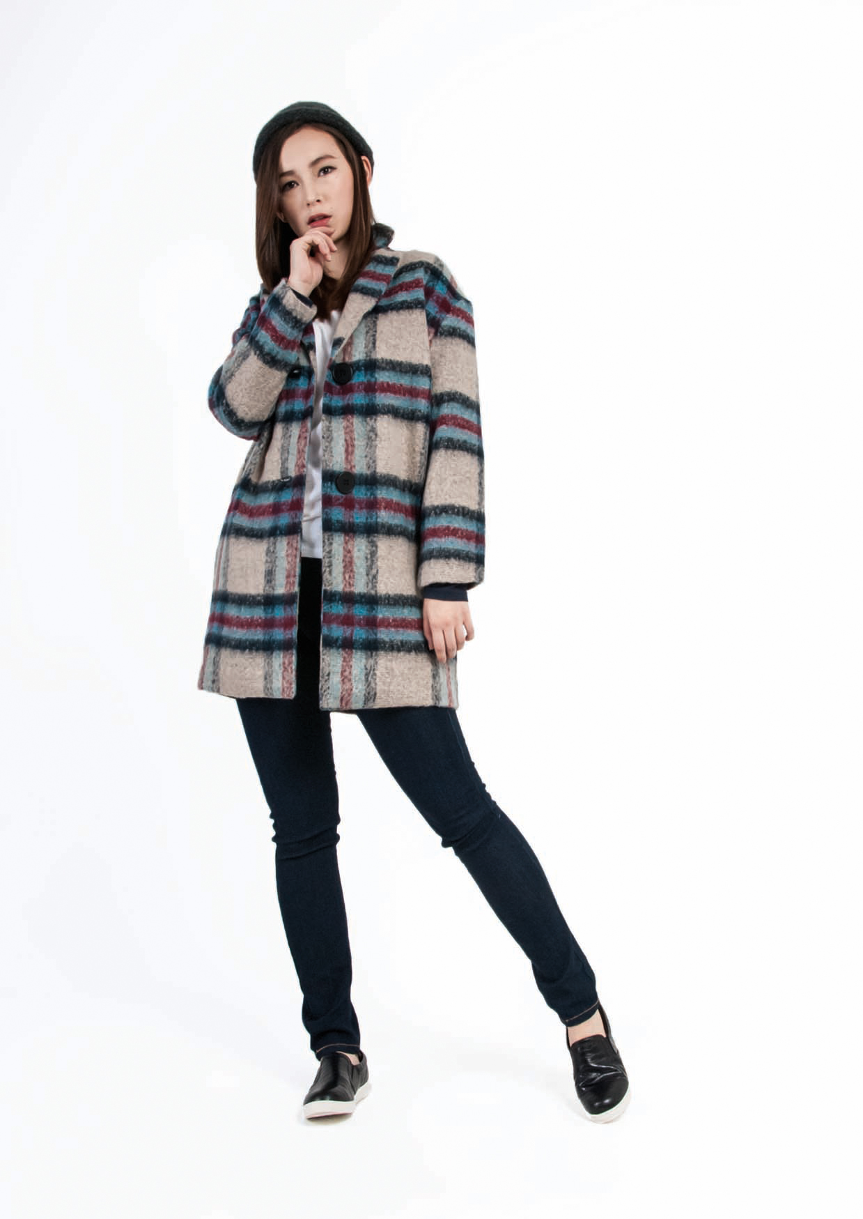 Casual Wool Check Coat
