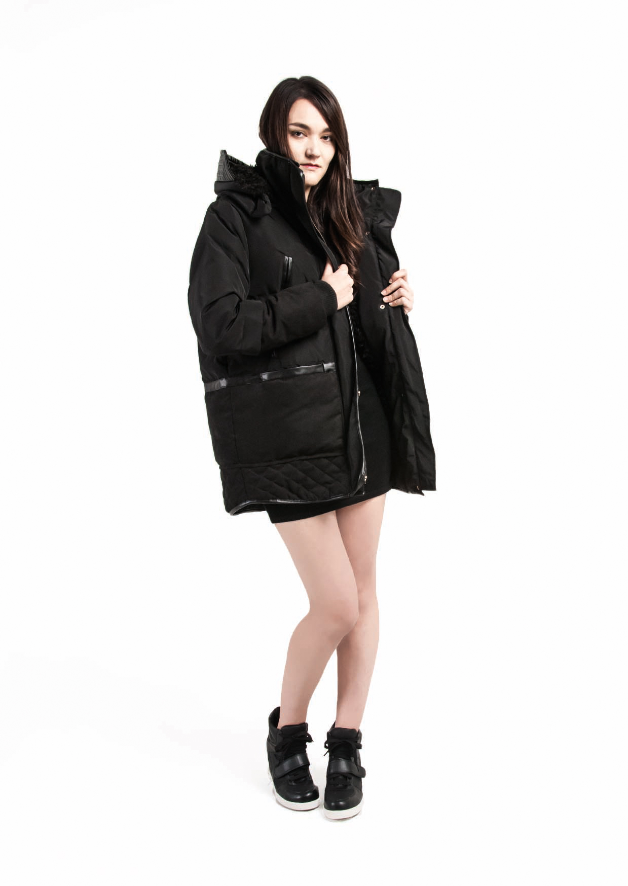 Fur Hooded Down Coat