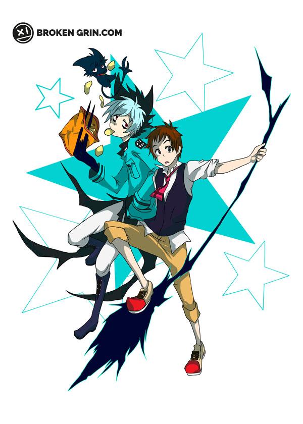 Servamp Pop Art - Featuring Kuro (aka Sleepy Ash) and Shrota