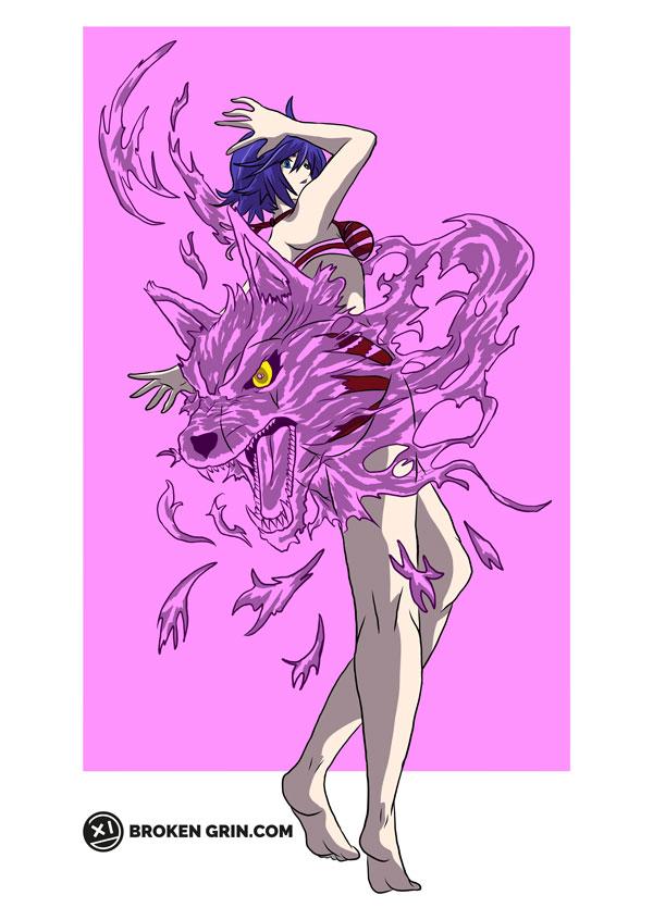 Keijo Pop Art - Featuring Kotone Fujisaki and her Cerberus (should be Cerber-ass -_-)