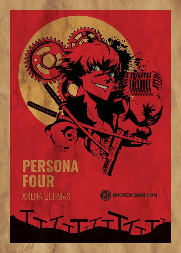 Persona 4 Arena Ultimax Made Retro - A Retro styled design image inspired by old B movie posters featuring Sho