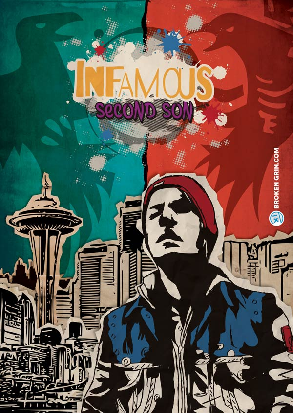 Infamous Second Son Retro Art - Yet another 90's grunge style retro art image of a some what current video game