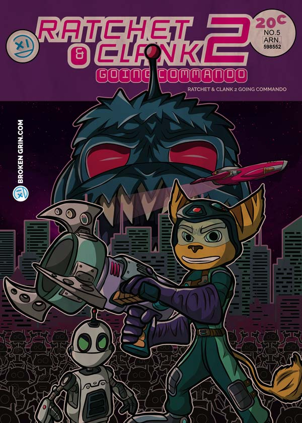 Ratchet and Clank Retro Art - Done in an old comic book style