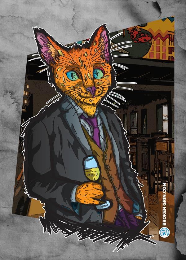 Cheers Cat Grunge Art