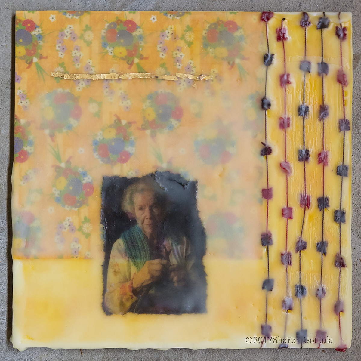 """Memories"" Washi paper, photography, yarn and encaustic. 8"" x 8"""