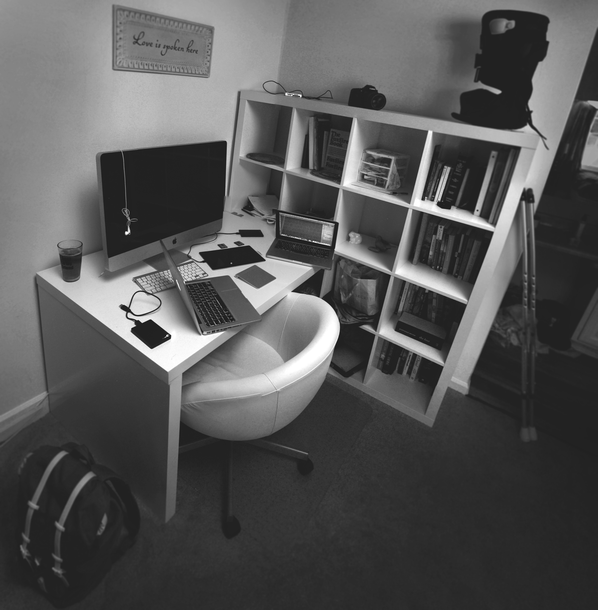 This was a photomerge of about 5 different photographs. I did this in order to give the viewer an upclose and wide perspective on my workspace.