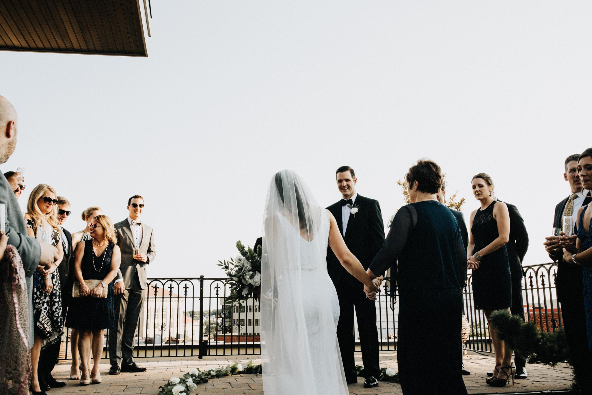 Rooftop wedding in Durham NC