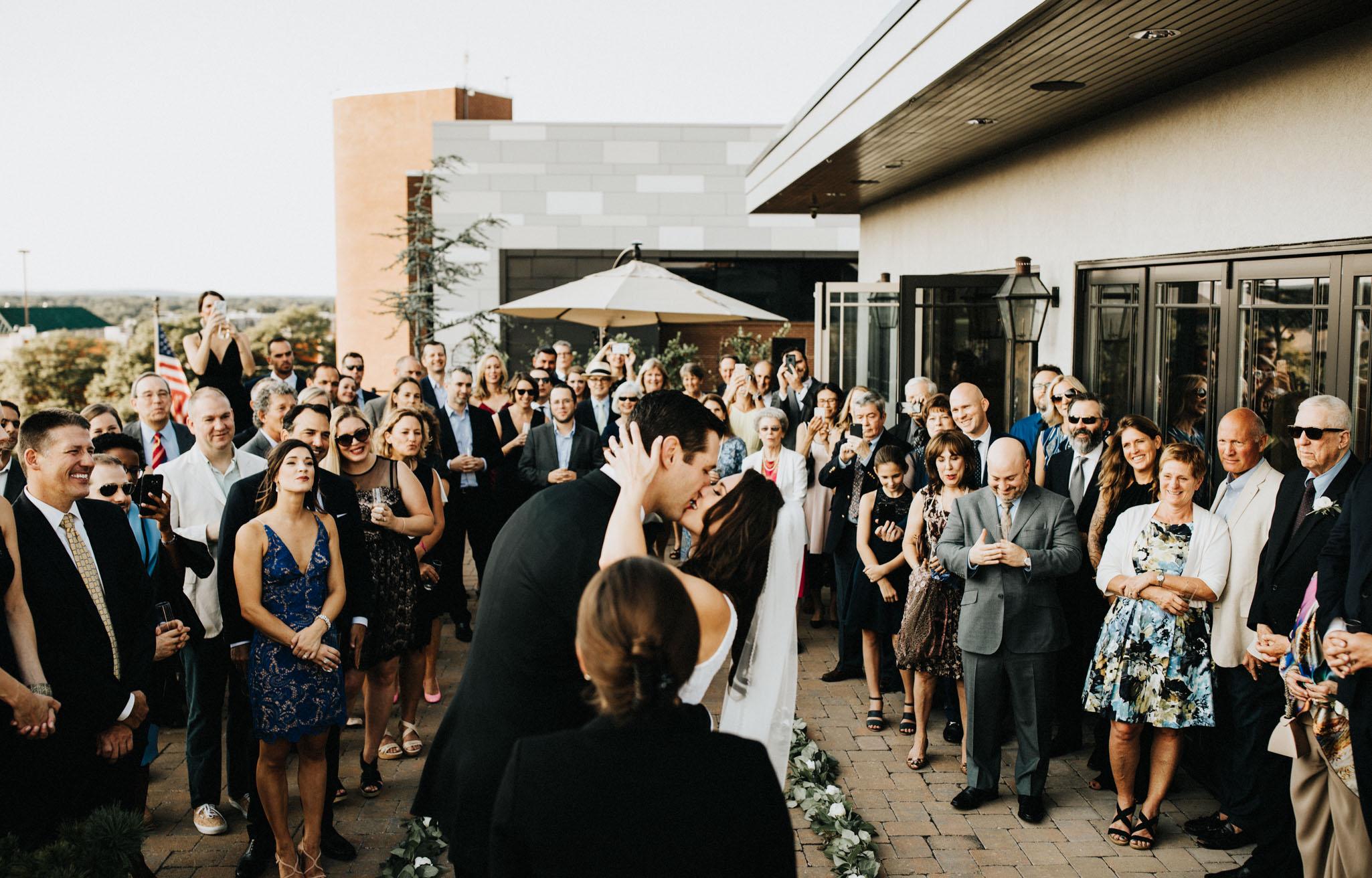 wedding ceremony kiss