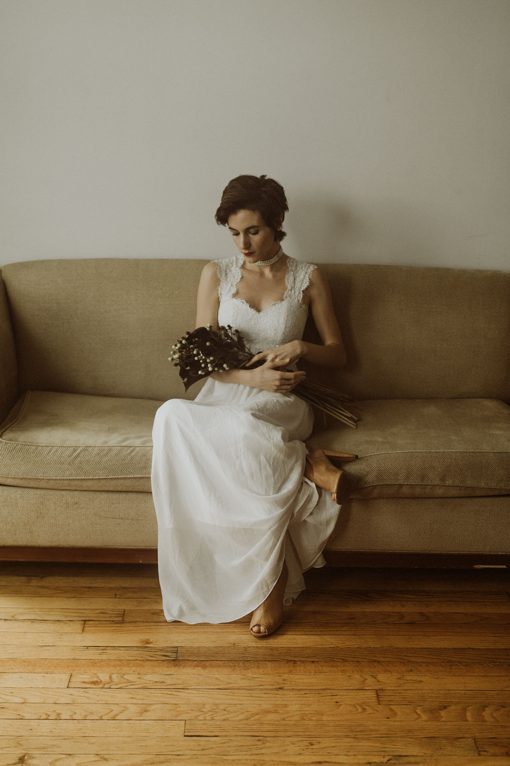 In home bridal portraits